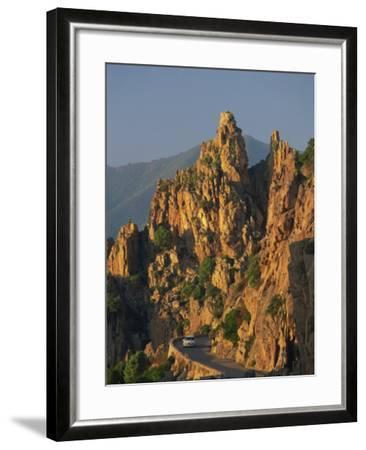 Calanche, White Granite Rocks, with Car on Road Below, Near Piana, Corsica, France, Europe-Tomlinson Ruth-Framed Photographic Print