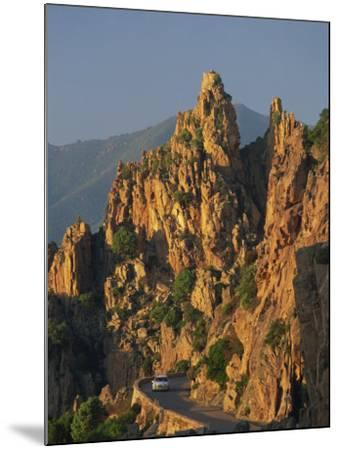 Calanche, White Granite Rocks, with Car on Road Below, Near Piana, Corsica, France, Europe-Tomlinson Ruth-Mounted Photographic Print