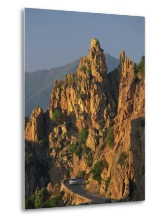 Calanche, White Granite Rocks, with Car on Road Below, Near Piana, Corsica, France, Europe-Tomlinson Ruth-Metal Print