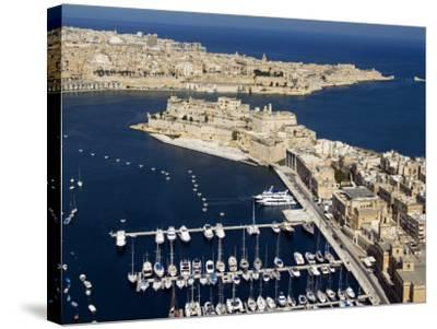 Aerial View of St. Angelo Fort in Vittoriosa in Front of Valletta, Malta, Mediterranean-Tondini Nico-Stretched Canvas Print