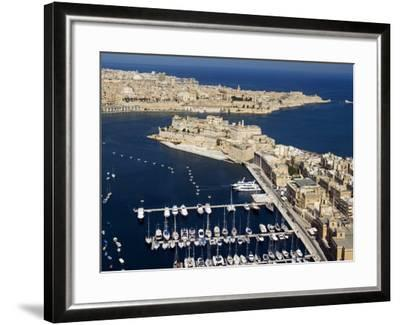 Aerial View of St. Angelo Fort in Vittoriosa in Front of Valletta, Malta, Mediterranean-Tondini Nico-Framed Photographic Print