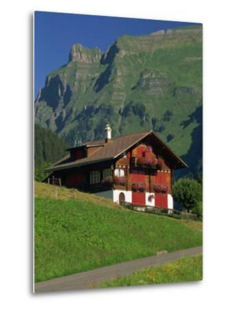 Typical Wooden Chalet with Colourful Shutters, Grindelwald, Bern, Switzerland, Europe-Tomlinson Ruth-Metal Print