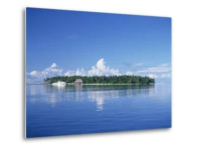 Tropical Island with Palm Trees, Surrounded by the Sea in the Maldive Islands, Indian Ocean-Tovy Adina-Metal Print