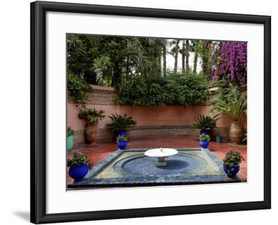 Fountain in the Majorelle Garden, Restored by the Couturier Yves Saint-Laurent, Marrakesh, Morocco-De Mann Jean-Pierre-Framed Photographic Print