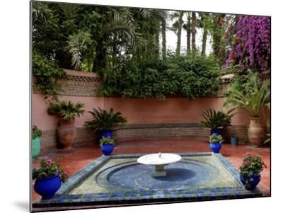 Fountain in the Majorelle Garden, Restored by the Couturier Yves Saint-Laurent, Marrakesh, Morocco-De Mann Jean-Pierre-Mounted Photographic Print
