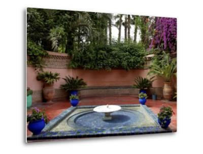 Fountain in the Majorelle Garden, Restored by the Couturier Yves Saint-Laurent, Marrakesh, Morocco-De Mann Jean-Pierre-Metal Print