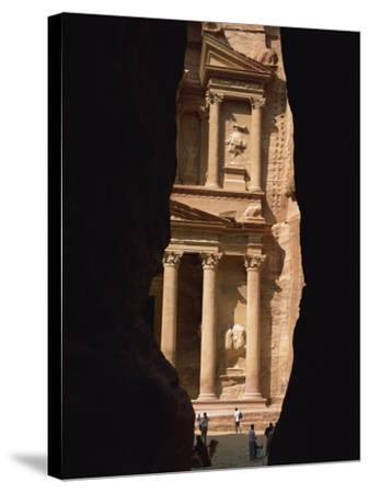 First View of Petra at the End of the Siq Entrance Gorge, Petra, Jordan, Middle East-Waltham Tony-Stretched Canvas Print
