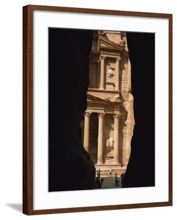 First View of Petra at the End of the Siq Entrance Gorge, Petra, Jordan, Middle East-Waltham Tony-Framed Photographic Print