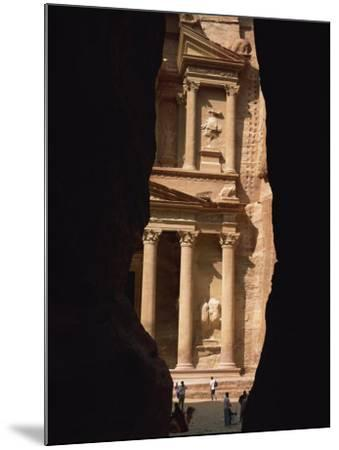 First View of Petra at the End of the Siq Entrance Gorge, Petra, Jordan, Middle East-Waltham Tony-Mounted Photographic Print