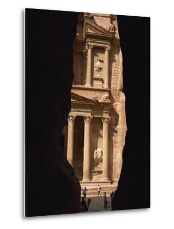 First View of Petra at the End of the Siq Entrance Gorge, Petra, Jordan, Middle East-Waltham Tony-Metal Print