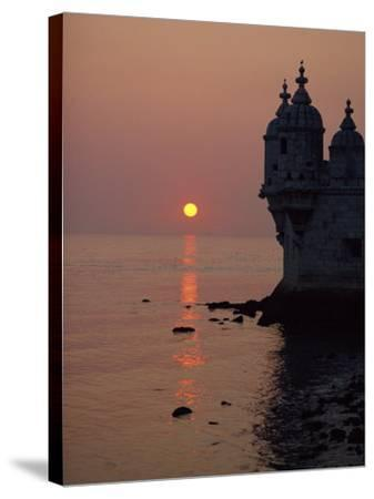 Turrets of the 16th Century Belem Tower Silhouetted in the Sunset, in Lisbon, Portugal, Europe-Westwater Nedra-Stretched Canvas Print