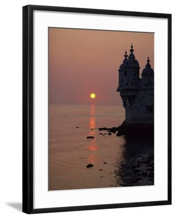 Turrets of the 16th Century Belem Tower Silhouetted in the Sunset, in Lisbon, Portugal, Europe-Westwater Nedra-Framed Photographic Print
