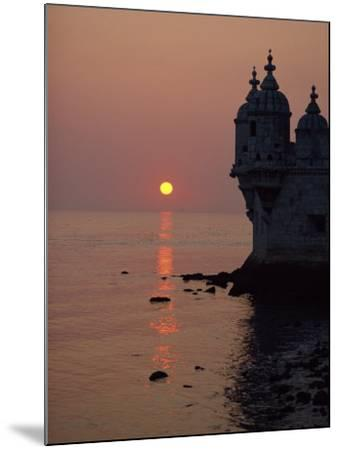 Turrets of the 16th Century Belem Tower Silhouetted in the Sunset, in Lisbon, Portugal, Europe-Westwater Nedra-Mounted Photographic Print