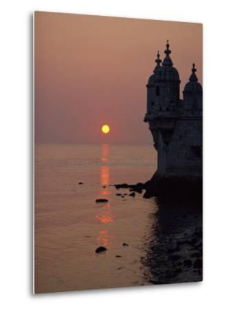 Turrets of the 16th Century Belem Tower Silhouetted in the Sunset, in Lisbon, Portugal, Europe-Westwater Nedra-Metal Print