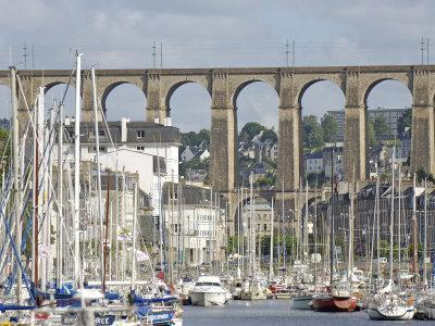 Town of Morlaix and its Viaduct, North Finistere, Brittany, France, Europe-De Mann Jean-Pierre-Framed Photographic Print