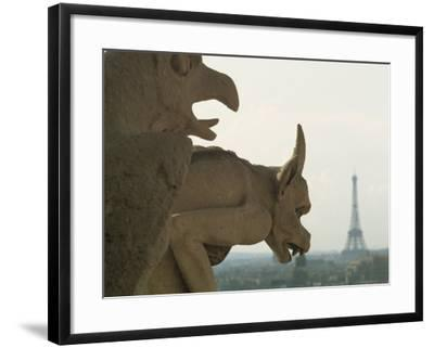 Gargoyles on Notre Dame Cathedral, and Beyond, the Eiffel Tower, Paris, France, Europe-Woolfitt Adam-Framed Photographic Print