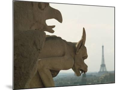 Gargoyles on Notre Dame Cathedral, and Beyond, the Eiffel Tower, Paris, France, Europe-Woolfitt Adam-Mounted Photographic Print