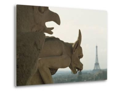 Gargoyles on Notre Dame Cathedral, and Beyond, the Eiffel Tower, Paris, France, Europe-Woolfitt Adam-Metal Print