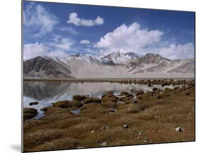 High Mountain Lake and Mountain Peaks, Beside the Karakoram Highway, China-Alison Wright-Mounted Photographic Print