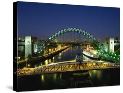 Tyne Bridge Illuminated at Night, Tyne and Wear, England, United Kingdom, Europe--Stretched Canvas Print