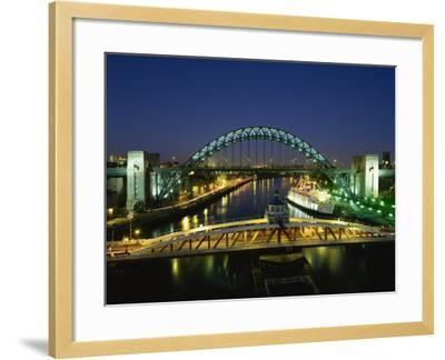 Tyne Bridge Illuminated at Night, Tyne and Wear, England, United Kingdom, Europe--Framed Photographic Print
