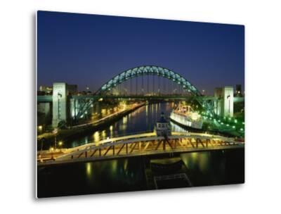 Tyne Bridge Illuminated at Night, Tyne and Wear, England, United Kingdom, Europe--Metal Print