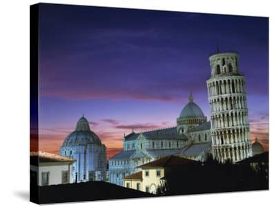 Leaning Tower, Duomo and Baptistery at Sunset in the City of Pisa, Tuscany, Italy--Stretched Canvas Print