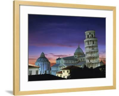 Leaning Tower, Duomo and Baptistery at Sunset in the City of Pisa, Tuscany, Italy--Framed Photographic Print