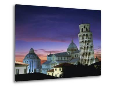 Leaning Tower, Duomo and Baptistery at Sunset in the City of Pisa, Tuscany, Italy--Metal Print
