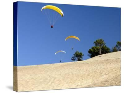 Hang Gliders over Dune Du Pyla, Bay of Arcachon, Cote D'Argent, Gironde, Aquitaine, France, Europe-Groenendijk Peter-Stretched Canvas Print