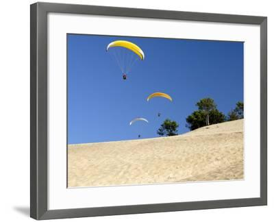 Hang Gliders over Dune Du Pyla, Bay of Arcachon, Cote D'Argent, Gironde, Aquitaine, France, Europe-Groenendijk Peter-Framed Photographic Print