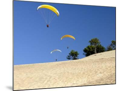 Hang Gliders over Dune Du Pyla, Bay of Arcachon, Cote D'Argent, Gironde, Aquitaine, France, Europe-Groenendijk Peter-Mounted Photographic Print
