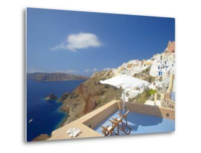 Terrace in Oia, Santorini, Cyclades, Greek Islands, Greece, Europe-Papadopoulos Sakis-Metal Print