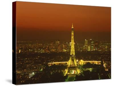 Eiffel Tower by Night, Paris, France, Europe--Stretched Canvas Print