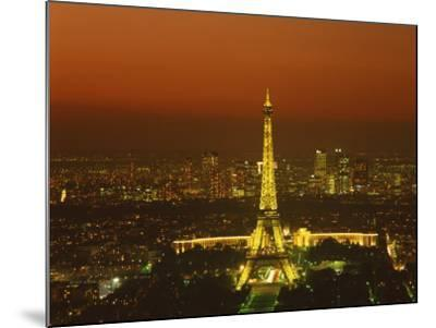 Eiffel Tower by Night, Paris, France, Europe--Mounted Photographic Print