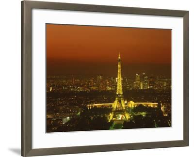 Eiffel Tower by Night, Paris, France, Europe--Framed Photographic Print