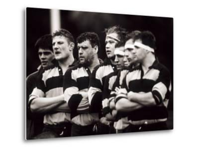 Men's Rugby Team Lined Up Prior to a Game, Paris, France--Metal Print