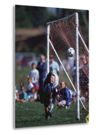 11 Year Old Boys Soccer Goalie in Action--Metal Print