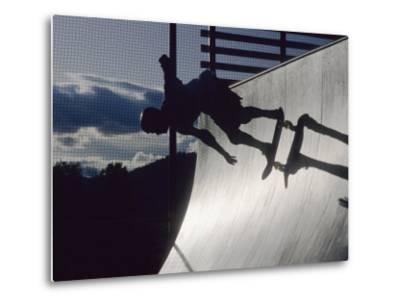Skateboarder in Action on the Vert--Metal Print