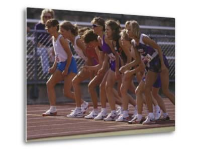Female Runners at the Start of a Track Race--Metal Print