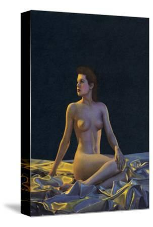 Female Nude on Gold Drapery--Stretched Canvas Print