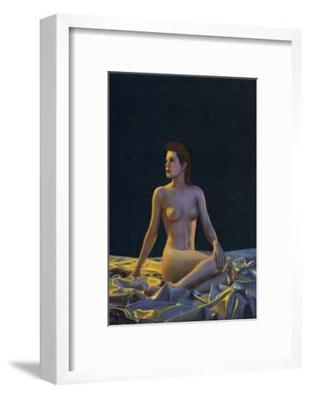 Female Nude on Gold Drapery--Framed Art Print