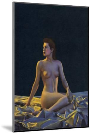 Female Nude on Gold Drapery--Mounted Art Print