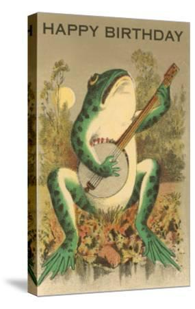 Happy Birthday, Frog with Banjo--Stretched Canvas Print