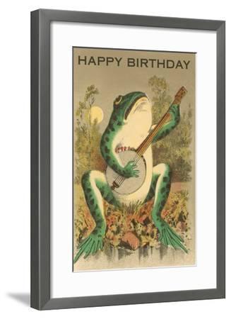 Happy Birthday, Frog with Banjo--Framed Art Print