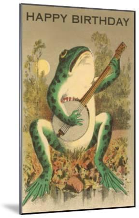 Happy Birthday, Frog with Banjo--Mounted Art Print