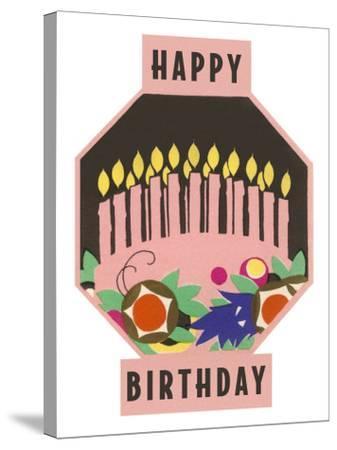 Happy Birthday, Cake Motif--Stretched Canvas Print