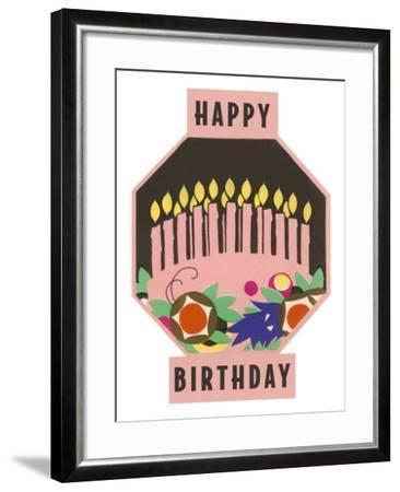 Happy Birthday, Cake Motif--Framed Art Print