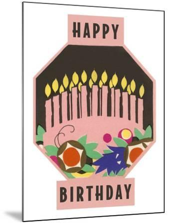 Happy Birthday, Cake Motif--Mounted Art Print