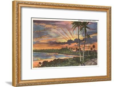 Sunset, Kalapana Black Sands, Hawaii--Framed Art Print